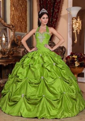 2014 Elegant Halter Top Appliques Long Quinceanera Dresses
