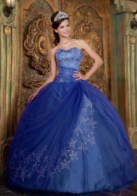 2014 Exclusive Blue Puffy Sweetheart Appliques Quinceanera Dresses