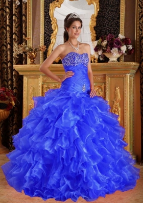 2014 Exclusive Puffy Sweetheart Beading Quinceanera Dresses with Ruffles