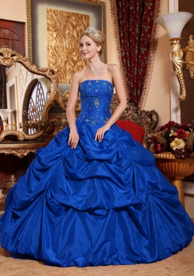2014 Pretty Royal Blue Strapless Beading Quinceanera Dress with Pick-ups