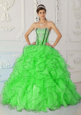 2014 Pretty Strapless Appliques Puffy Sweet 15 Dresses in Spring Green