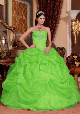 2014 Puffy Sweetheart Beading Quinceanera Dresses in Spring Green