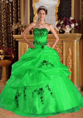 2014 Puffy Sweetheart Long Embroidery Organza Quinceanera Dresses