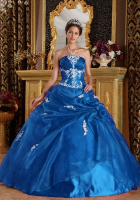 2014 Simple Puffy Quinceanera Dress with Strapless Appliques