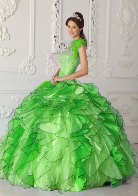2014 Simple Strapless Satin and Organza Beading Long Quinceanera Dresses
