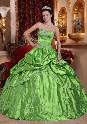 2014 Spring Green Strapless Embroidery with Beading Quinceanera Dress