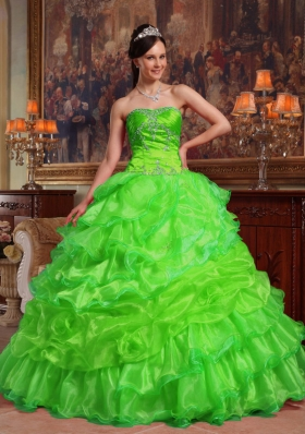 2014 Spring Sweetheart Beading Organza Quinceanera Dresses