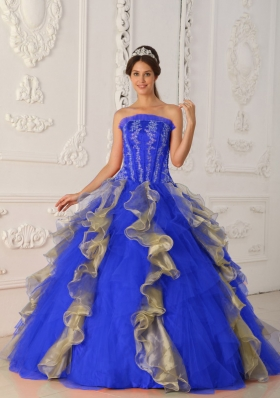 2014 Strapless Long Quinceanera Dress with Appliques and Beading