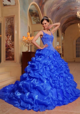 Blue Puffy Spaghetti Straps Embroidery 2014 Quinceanera Dress