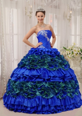 Blue Puffy Strapless Appliques and Ruching 2014 Quinceanera Dress