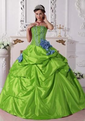 Cheap Ball Gown Strapless Beading 2014 Long Quinceanera Dress