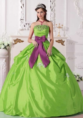 Cheap Ball Gown Strapless Taffeta Beading Quinceanera Dresses