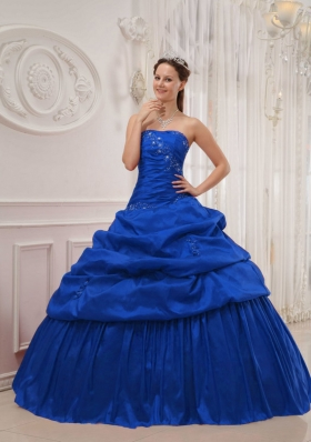 Classical Blue Puffy Strapless Ruffles Quinceanera Dresses