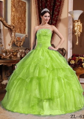 Cute Ball Gown Strapless Beading Long Quinceanera Dresses