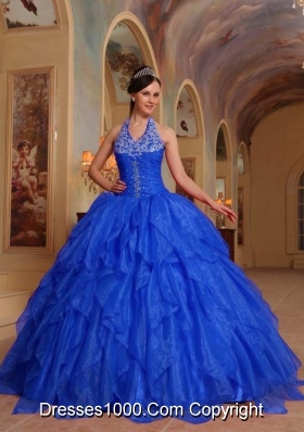 Gorgeous Halter Embroidery Quinceanera Dress with Ruffles