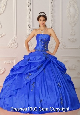 Modest Blue Puffy Strapless for 2014 Appliques Quinceanera Dresses