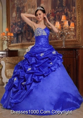 Most Popular Blue Sweetheart 2014 Quinceanera Dresses with Beading