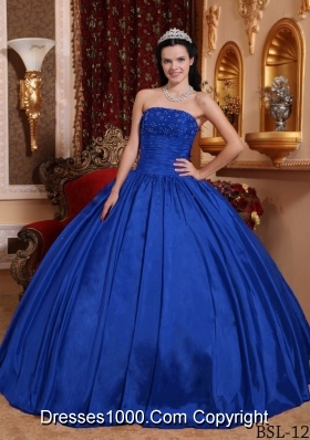Perfect Blue Puffy Strapless 2014 Beading Quinceanera Dresses