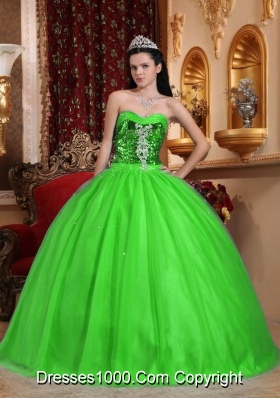 Popular Sweetheart Beading Puffy Quinceanera Dresses in Spring Green