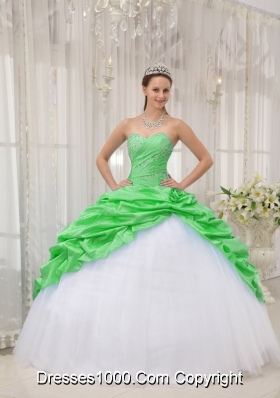 Pretty Sweetheart Taffeta and Tulle Beading Sweet 16 Dresses in Spring Green