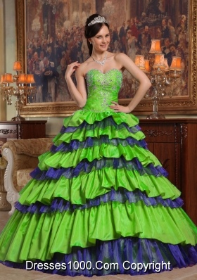 Princess Sweetheart Taffeta and Organza Beading Quinceanera Dresses