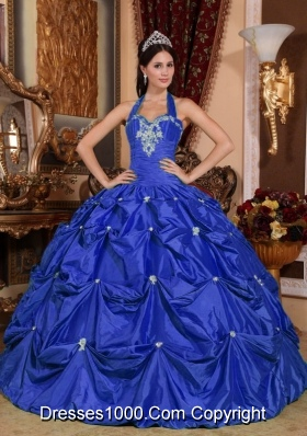 Puffy Halter Top Appliques 2014 Quinceanera Dresses with Pick-ups