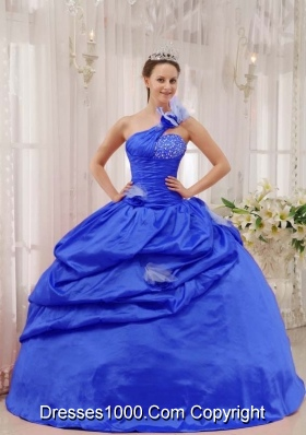 Puffy One Shoulder Beading and Pick-ups 2014 Quinceanera Dresses