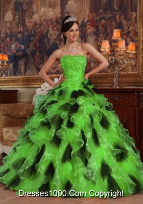 Puffy Organza Long Quinceanera Dresses with Strapless