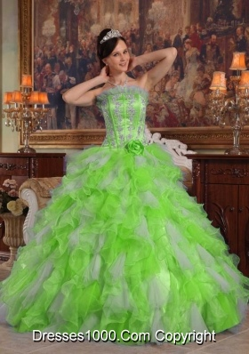 Puffy Strapless Appliques 2014 Spring Quinceanera Dresses