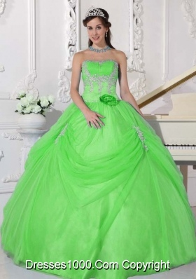 Puffy Strapless Appliques Quinceanera Gowns in Spring Green