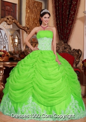 Puffy Strapless Long Beading Quinceanera Gown with Spring Green