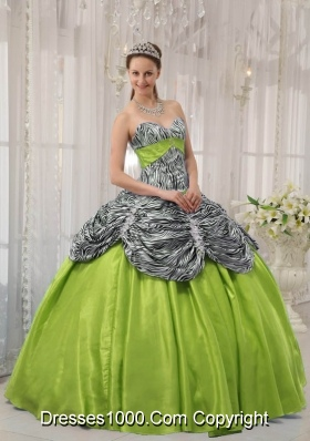 Puffy Zebra or Leopard Ruffles 2014 Quinceanera Dresses with Sweetheart
