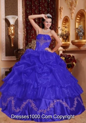 Romantic Blue Puffy Strapless Beading Quinceanera Dress for 2014