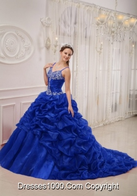 Royal Blue Beading Quinceanera Dress with Court Train