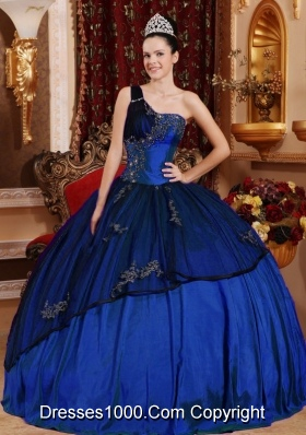 Royal Blue Puffy One Shoulder Beading and Appliques Quinceanera Gowns for 2014