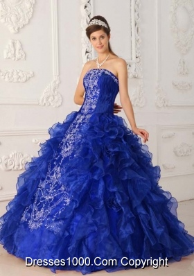 Royal Blue Puffy Strapless Ruffles and Embroidery Quinceanera Dresses for 2014