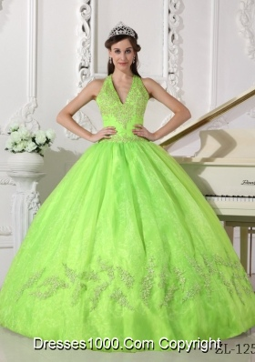 Spring Green Halter Organza 2014 Quinceanera Dresses with Appliques