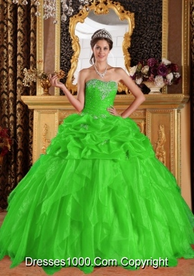 Spring Green Puffy Sweetheart Quinceanera Gown Appliques with Beading