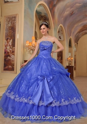 The Brand New Sequins Quinceanera Dresses in Blue Puffy with Bows