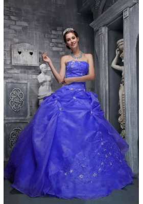2014 Beautiful Strapless Appliques Blue Quinceanera Dresses