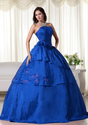 2014 Blue Puffy Strapless Hand Made Flowers Quinceanera Dress