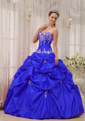 2014 Blue Puffy Sweetheart Appliques Quinceanera Dresses with Pick-ups