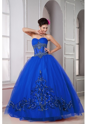 2014 Blue Puffy Sweetheart Beading Decorate Quinceanera Dresses