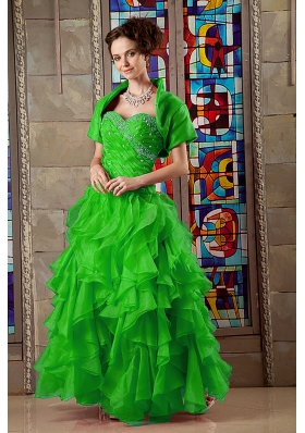 2014 Cute Sweetheart Organza Beading Sweet 16 Dresses