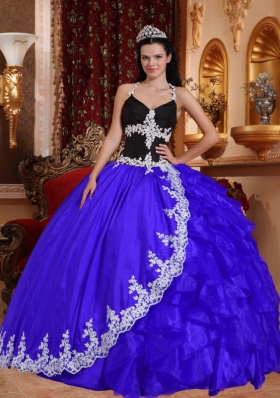 2014 Halter Lace Appliques Quinceanera Dresses with Ruffles