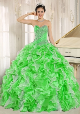 2014 New Style Quinceanera Dresses Beaded and Ruffles for Custom Made