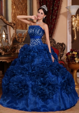 2014 Popular Blue Puffy Strapless Appliques Quinceanera Dress with Ruffles