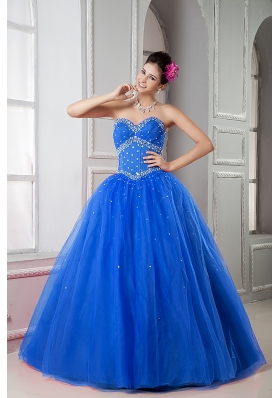 2014 Pretty Blue Puffy Sweetheart Beading Quinceanera Dresses