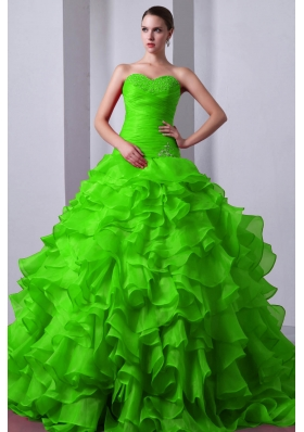 2014 Pretty Princess Sweetheart Beading and Ruffles Quinceanea Dresses in Spring Green