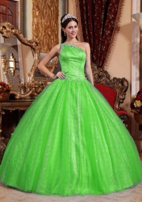 2014 Puffy Beading Quinceanera Dresses with One Shoulder